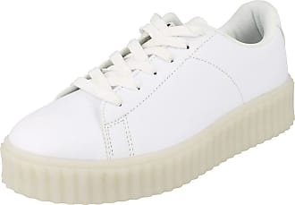 Spot On Ladies Spot On Casual Lace Up LED Outsole Creeper Trainers F80189 - White Synthetic - UK Size 8 - EU Size 41 - US Size 10