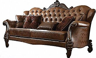 ACME ACME Versailles Light Brown Faux Leather Sofa with 5 Pillows