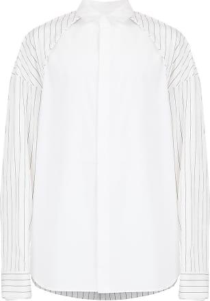 Juun.J Camisa listrada com recorte - Branco