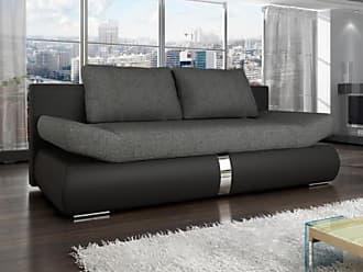Venta-Unica.com Sofá cama de 2 plazas JADEN tapizado de tela y piel sintética - Bicolor negro y gris antracita