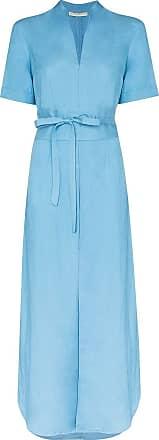 USISI SISTER Vestido longo envelope com cinto de linho - Azul