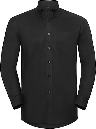 Russell Athletic Russell Collection Mens Long Sleeve Easy Care Oxford Shirt (16.5inch) (Black)