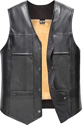 NPRADLA Mens Warmer Thick Leather Autumn Winter Casual Daily Pocket Pure Color Waistcoat Vest Jacket Top Black