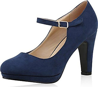 4b3e1b4cf61654 napoli-fashion Damen Pumps Mary Janes Blockabsatz High Heels T-Strap Damen  Pumps Dunkelblau