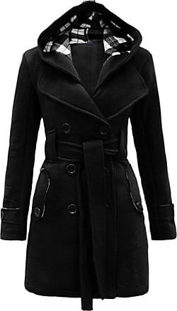 Yonglan Women Hoodied Belted Button Long Sleeve Jacket Coat Plus Size Tops Black L