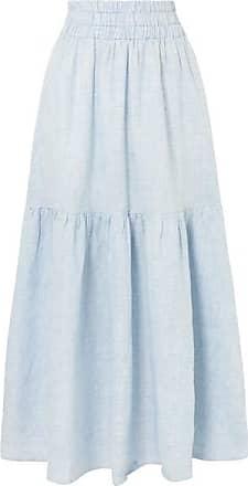 Mara Hoffman Carmen Tiered Striped Hemp Maxi Skirt - Sky blue