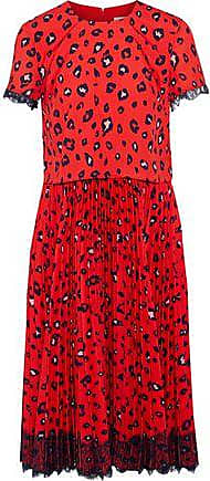 Mikael Aghal Mikael Aghal Woman Layered Pleated Leopard-print Washed-crepe Dress Red Size 10