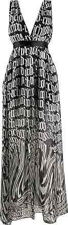 John Richmond Vestido longo com estampa de logo - Preto