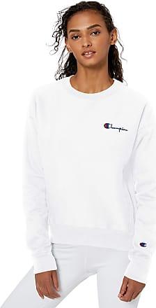 Champion LIFE Womens Reverse Weave Crew-Left Chest Script Sweatshirt, White, Medium