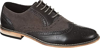 Generic Classics Mens Faux Suede Smart Formal Casual Lace Up Brogues Shoes (12 UK, Black/Grey)