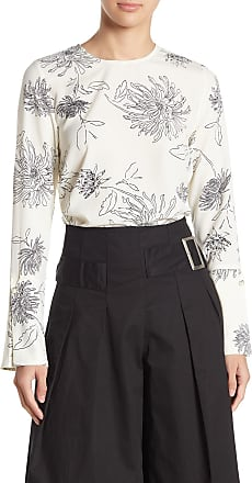 J.O.A Womens Printed Abstract Floral Long Bell Sleeve Cuff Blouse