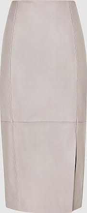 Reiss Grace - Leather Pencil Skirt in Grey, Womens, Size 10