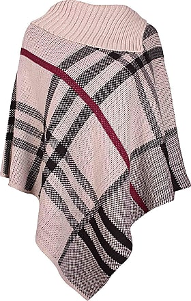Purple Hanger Womens Check Printed Ladies Stretch Knitted Collared Cape Wrap Shawl Jumper Poncho Top Stone 8-16