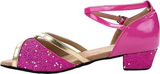 Insun Girls Ballroom Dance Shoes Latin Salsa Performance Shoes Suede Sole Fuchsia 2 11.5 UK Child