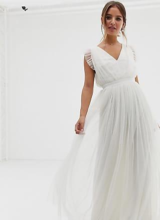 Anaya with Love With Love - Diepuitgesneden lange jurk van tule met ruches aan de mouwen en satijnen trim in wit