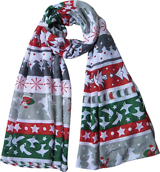 Lina & Lily Christmas Tree Deer Snowflake Santa Claus Snowman Print Womens Scarf Lightweight (White&Green&Red)