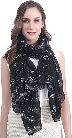 Lina & Lily Bicycle Print Womens Large Scarf Lightweight (Black)