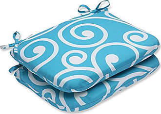 Pillow Perfect Outdoor Best Rounded Corners Seat Cushion, Turquoise, Set of 2