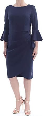 Alex Evenings Womens Slimming Short Ruched Dress with Ruffle Skirt (Petite and Regular Sizes), Navy Bell Sleev 6