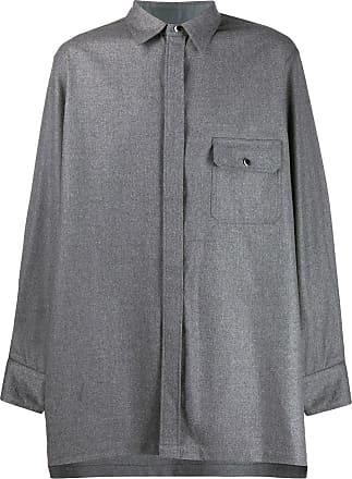 Fumito Ganryu Camisa oversized com bolso no busto - Cinza