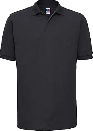 Russell Athletic Russell Hard-wearing Pique Polo Shirt, Unisex Men, Russell - Robustes Poloshirt - Übergröße bis 6XL, Black, X-Large