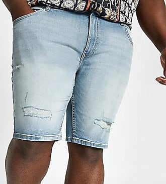 River Island Mens Big and Tall light blue wash denim shorts