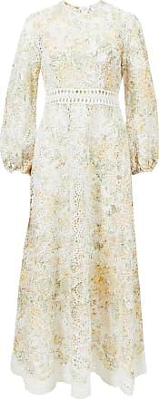 Zimmermann Kleid Amelie Long Dress mit Lochspitze Weiß/Multi