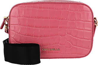 Coccinelle Tebe Croco Shiny Soft Crossbody Bag Bouganville Umhängetasche pink