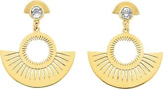 Zoe & Morgan Gold mit weißer Zirkontasche voller Sonnenscheinohrringe - Gold/White