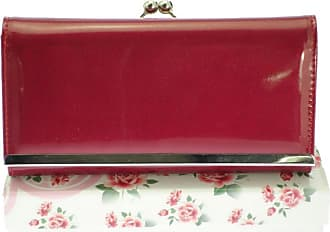 Girly HandBags New Girly Handbags Patent Glossy Wallet Ball Clasp Photo Elegant Evening Purse Colors Vintage - Plum Red