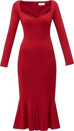 Sara Battaglia Pleated-hem Jersey Dress - Womens - Red