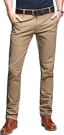 OCHENTA Mens Casual Slim-Tapered Flat-Front Trousers Khaki Lable 38