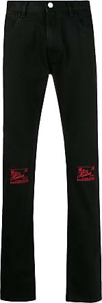 Raf Simons Calça jeans slim com bordado nos joelhos - Preto