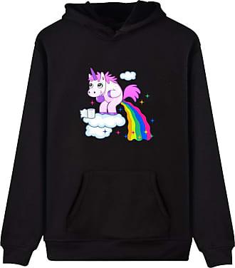 EUDOLAH Womens Hoodie Funny Cartoon Unicorn Print Sweatshirt Top (Black Rainbow XL)