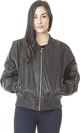 Love my Fashions Women Classic Harrington MA1 Plain Vintage Bomber Jacket Zip Up Biker Padded Causal Outwear Coat Black L