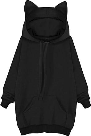 Dresswel Women Cute Cat Ear Hoodie Long Sleeve Tops Pullover Hooded Sweatshirt with Kangaroo Pocket Black