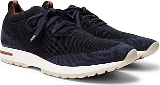 Loro Piana 360 Flexy Walk Leather-trimmed Knitted Wool Sneakers - Navy