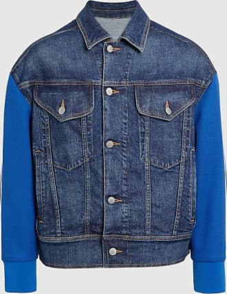 Neil Barrett Hybrid Oversize Denim Jean Jacket With Track Top Sleeve