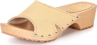 Ladeheid Women´s Wood Shoes Clogs House Shoes LAFA084 (Beige, 36 EU = 3.5 UK)