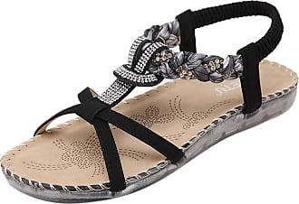 Insun Womens Black Beaded Flat Sandal 6 UK