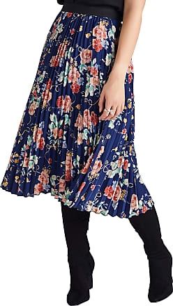 Yumi Navy Rose And Chain Pleated Skirt