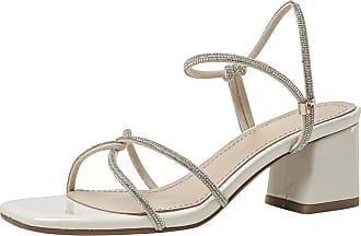 Mediffen Women Block Heels Open Toe Summer Slippers Fashion Mules Sandals Party Ladies Mid Heels Slides Sandals Comfort Outdoor Indoor Slippers Beige Size 43 A
