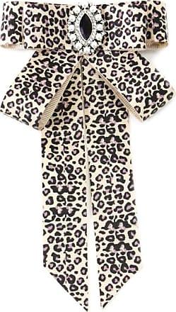 Xian Women Vintage Layered Ribbon Bowknot Brooch Pin Luxury Glitter Rhinestone Jewelry Decor Leopard Printed Collar Shirt Dress Jewelry Necktie