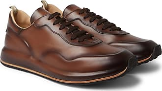 Officine Creative Race Lux Burnished-leather Sneakers - Dark brown