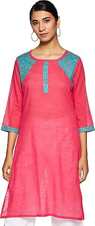 Indigo Womens Cotton Straight Kurti (SS-19/DM 15 B_ Pink_ X-Large)