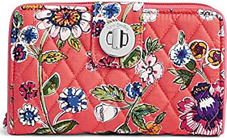 Vera Bradley Womens RFID Turnlock Wallet-Signature, coral floral, One Size