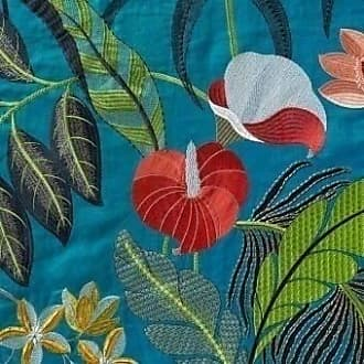Nobilis Stoff Hibiscus Embroidered Embroidered