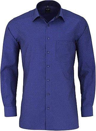 Olymp Olymp Luxor Modern Fit Long Sleeve Shirt New Kent Collar Pattern Blue - Blue - 42