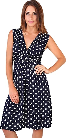 Krisp Polka Dot Dress Twist Knot Front V Neck Mini Swing Dress Party Summer (Navy [6147], 16), 6147-NVYWHT-16