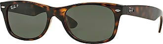 Ray-Ban Unisex New Wayfarer Polarized Sunglasses, Tortoise Frame/Green Polarized Lenses, Green Classic G-15 Polarized, 52mm